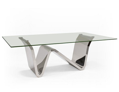 Ultra Modern 84' Glass Conference Table or Executive Desk with Chromed Stainless Steel W-Shaped Base