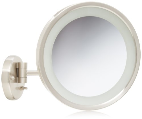 Jerdon HL1016NL 9.5-Inch LED Lighted Wall Mount Makeup Mirror with 5x Magnification, Nickel Finish]()