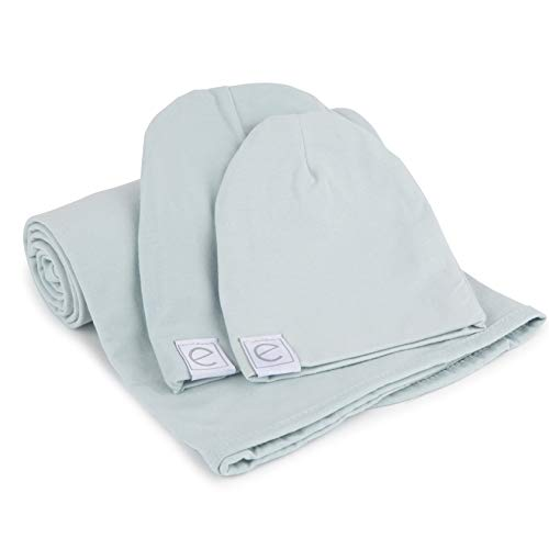 Cotton Knit Jersey Swaddle Blanket and 2 Beanie Baby Hats Gift Set, Large Receiving Blanket by Ely's & Co (Baby Blue)