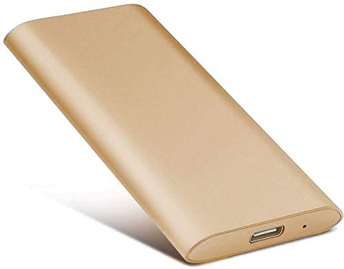 External Hard Drive Type C USB 2.0 Portable 1TB 2TB Hard Drive External HDD Compatible for Mac Laptop and PC (2tb, Gold)