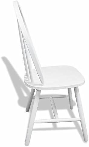 Tidyard Lot de 2 Chaise de Salle à Manger Rond Bois Style Moderne Blanc