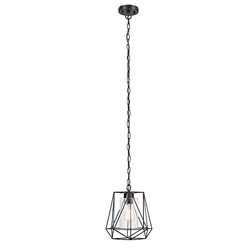 (Sansa 1-Light Outdoor/Indoor Pendant, Black, Clear Glass Inner Shade)