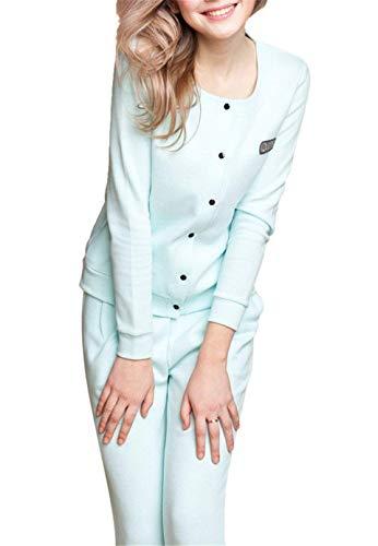 Solo Para Otoño Elegante Pijamas De Conjunto Batas Basic Un Primavera Hogar Color Redondo Pantalones Sólido Ropa Pijama Fashion Mujer El Pecho Cuello Largo Hellblau Manga Cómodo WZgw50aqwP