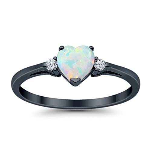 Blue Apple Co. 925 Sterling Silver Promise Ring Heart Shaped Lab Created White Opal Black Tone Rhodium PL Clear CZ ()