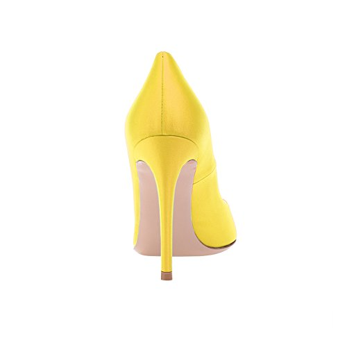 EKS Women's Fashion Pointed Toe Silk Stiletto High Heel Shoes For Party Yellow-Silk DG0fc