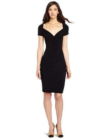 KAMALIKULTURE Women's Short Sleeve Sweetheart Draped Dress, Black, X-Small