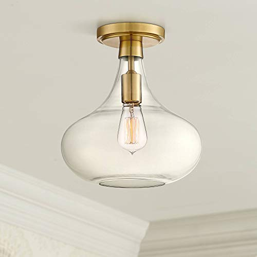 Cecil Modern Ceiling Light Semi Flush Mount Fixture Warm Antique Brass 11