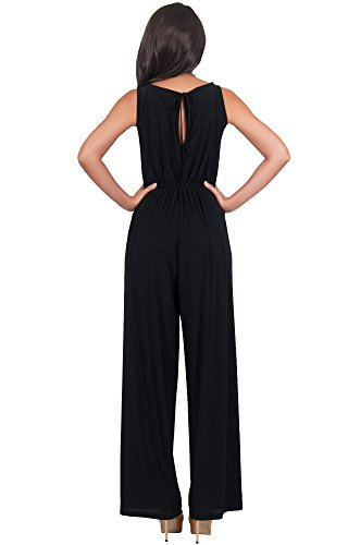 KOH KOH Womens Sleeveless Flared Summer Round Neck Jumpsuit Casual Romper Cute Cut Keyhole Perfect Cocktail Formal Playsuit Overall, Color Black, Size Medium M 8-10