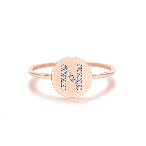 PAVOI 14K Rose Gold Plated Initial Ring Stackable Rings for Women | Fashion Rings - N Ring