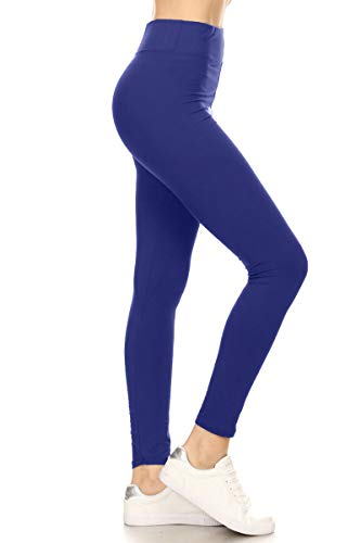 LYX128-ROYALBLUE Yoga Solid Leggings, Plus Size