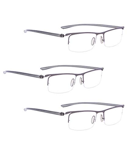 READING GLASSES 3 pack Half-Rim Readers (Gunmetal, 4.00)