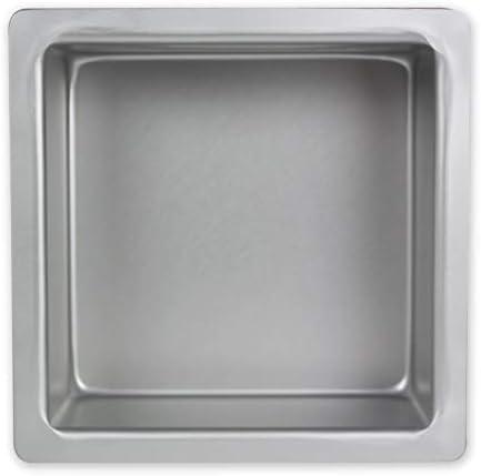 PME SQR073 Square Seamless Professional Cake 7 x 7 x 3 Aluminum Baking Pan, Standard, Silver