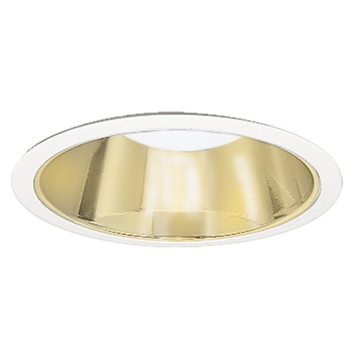 HALO Recessed 426RG 6-Inch Trim with Residential Gold Reflector Cone, White - Gold Cone Trim