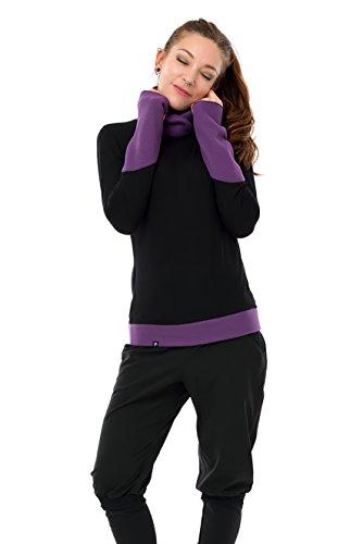 Suéter / Sudadera para mujer negro con forro polar 3Elfen Morado