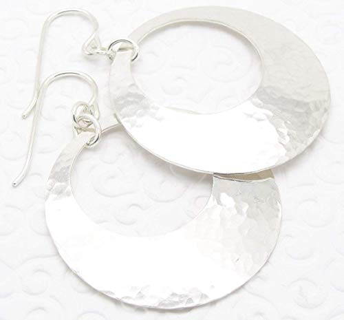 Medium Large Sterling Silver Disc Earrings with Peephole