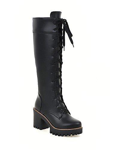 XZZ/ Damen-Stiefel-Kleid-Kunstleder-Blockabsatz-Slouch Stiefel / Rundeschuh-Schwarz / Gelb / Weiß black-us6.5-7 / eu37 / uk4.5-5 / cn37