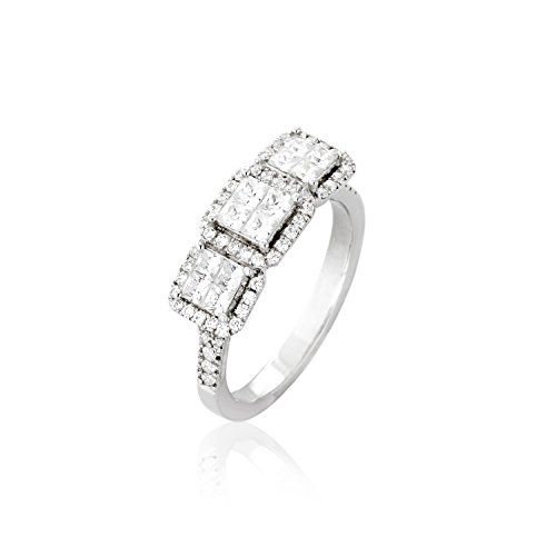 Women Diamond ring. Engagement Diamonds Ring (G-H Color), Invisible Setting, 14K Gold (white-gold, 5)