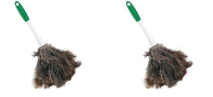 Libman Commercial 239 Handheld Feather Duster, Polypropylene and Sanoprene Handle, 13'' Total Length, Green and White Handle (Pack of 6) (2-(Pack))