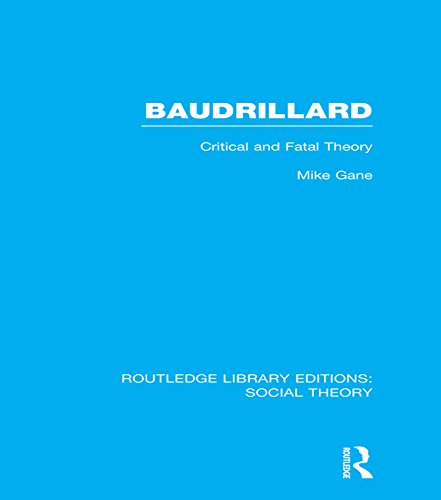 Download Baudrillard (RLE Social Theory): Critical and Fatal Theory (Routledge Library Editions: Social Theory) Pdf