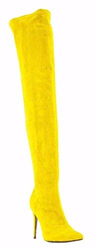 Donna Coscia Lato Velluto Stiletto Della Punta Cerniera Tacco Camssoo Punta Stivali Giallo Da zSIqf