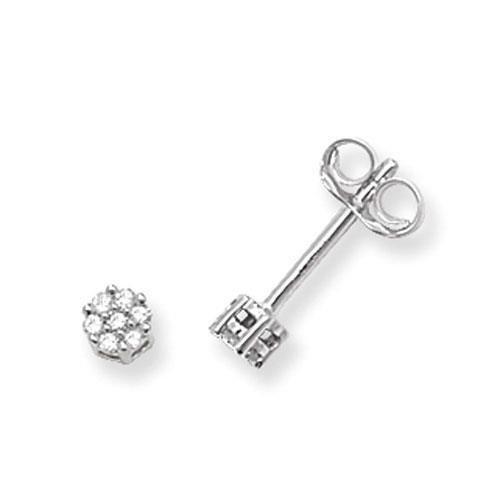 Diamant rond Boucles d'oreilles clous Femme-Illusion Lot de 9ct/H/SI 0,07ct
