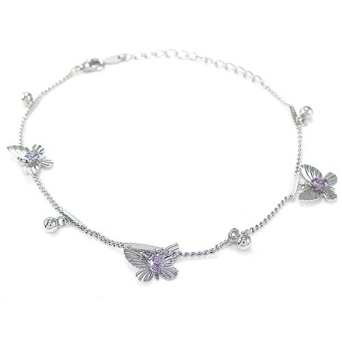 Glamorousky Elegant Butterfly Anklet with Purple Austrian Element Crystals (3550) by Glamorousky (Image #1)'