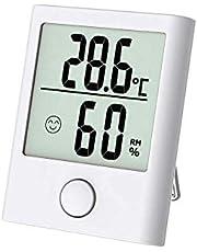 Digitales Mini Thermo Hygrometer Innen Thermometer Hygrometer Digital Temperatur und Feuchtigkeitsmesser Luftfeuchtigkeitsmessgerät mit Klima Monitor für Raumklimakontrolle Raum Zimmer Büro weiß