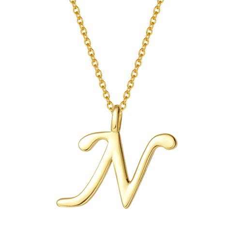 - FANCIME Yellow Gold Plated Initial Necklace High Polish Monogram Letter Initial N Necklace Sterling Silver Fine Jewelry for Women Girls 16