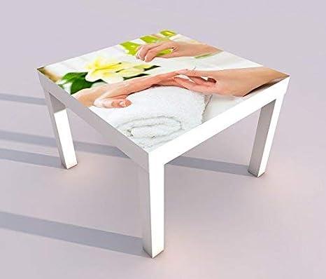 Design - Tisch mit UV Druck 55x55cm Nagel Nagelstudio Maniküre Blume Nägel Nail Art Spieltisch Lack Tische Bild Bilder Kinderzimmer Möbel 18A1141, Tisch 1:55x55cm myDruck-Store