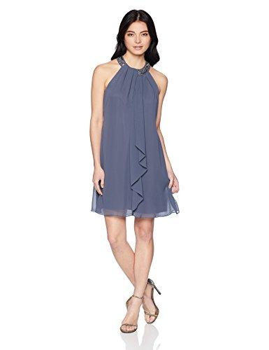 S.L. Fashions Women's Petite Jewel Halter Sheath Dress (Petite and Regular) Dress, Steel, 6P