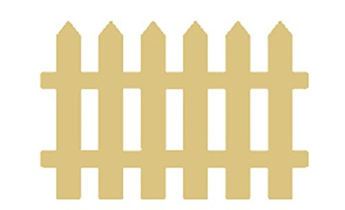 """Picket Fence Cutout Unfinished Wood Home and Garden Decor Country Decor Farm House MDF Shaped Canvas Style 1 (12"""")"""