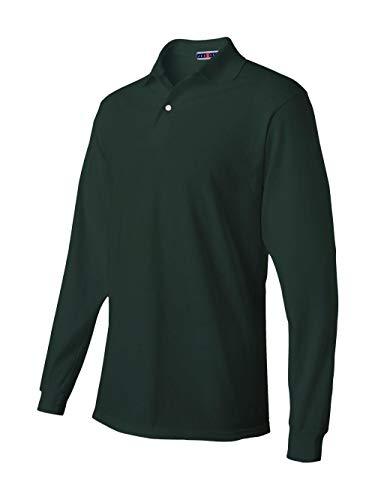 Jerzees Men's Spot Shield Long Sleeve Polo Sport Shirt, Forest Green X-Large from Jerzees