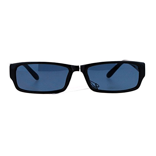 Mens Small Face Snug Fit Color Lens Rectangular Plastic Frame Sunglasses - Face Rectangular Men
