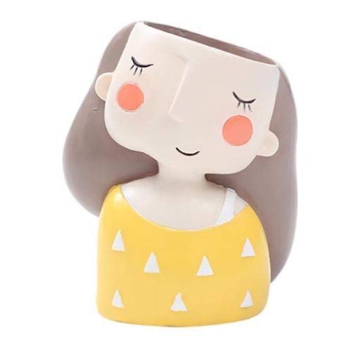 - FENHAR Cute Head Flower Planter Flowerpot Succulent Plant Pot Creat Design Home Garden (Yellow Girl)