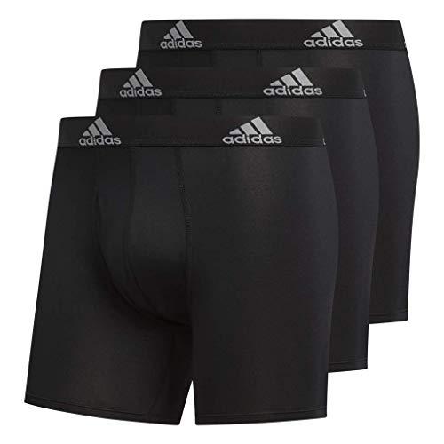 adidas Men's Climalite Boxer Briefs Underwear (3-Pack), Black/Black Black/Black Black/Black, Large
