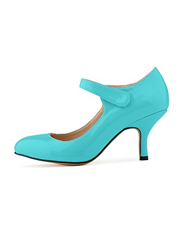 OCHENTA Mujer talones de la novia del tobillo PU de charol zapatos de trabajo Azul