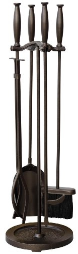 UniFlame 5-Piece Bronze Fire Set with Cylinder Handles