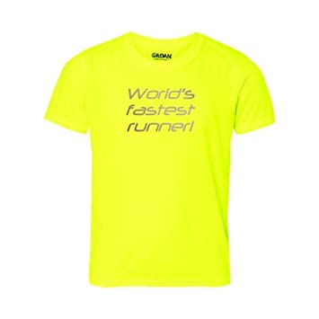 134a5d630d1 Spring Summer 2017. Worlds Fastest Runner Reflective Safety Print Text. Hi  Vis Safety Running Tee. Highly Visible Hi Viz from 300m