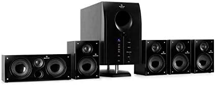 auna Areal Energetic 525, 5.1 Encompass Sound System, Dwelling Cinema System, Bass Reflex, 5 Satellite tv for pc Audio system, Bluetooth, USB Port, SD, AUX, Pianoblack