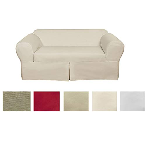 - Classic Slipcovers Classic 2-Piece Cotton Twill Loveseat Slipcover Khaki