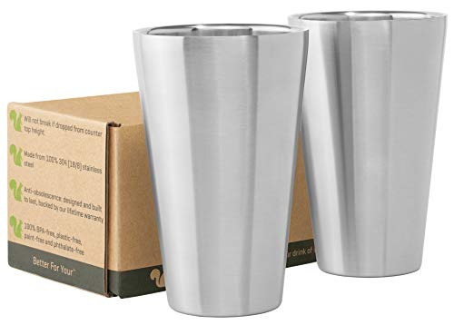 (Stainless Steel Cups Double Wall Tumbler Glasses 16 oz - Premium Pint Cups - Set of 2 - Stackable Shatterproof - Dishwasher Safe for Home, Camping, RV - BPA)