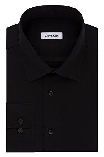 Calvin Klein Men's Regular Fit Stretch Solid Spread Collar Dress Shirt, Black, Large