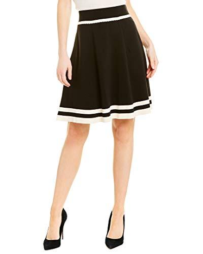 Anne Klein Women's Flare Striped Knit Skirt, Anne Black/Anne White, S