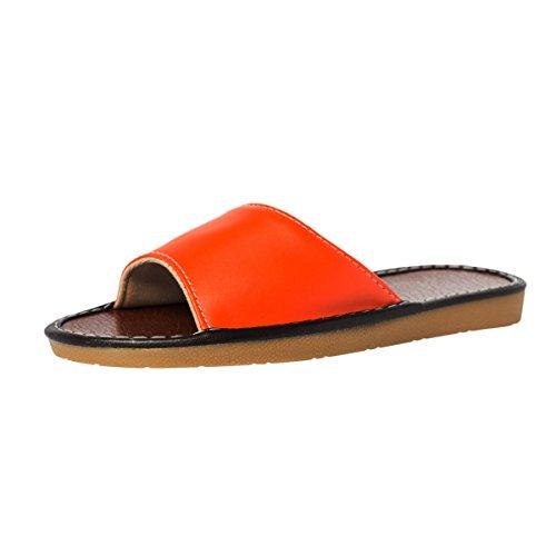 Haisum Femmes Été Ouvert Pantoufles Pantoufles En Cuir Plat Maison Intérieur Sandales Orange