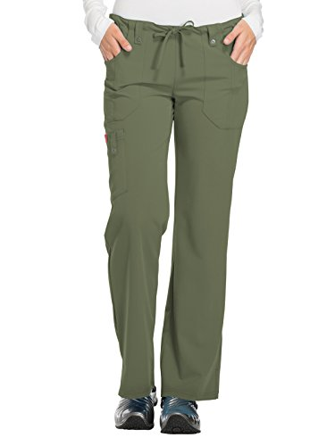 Dickies Xtreme Stretch Women's Drawstring Scrub Pant X-Small Tall Olive (Clogs Dickies Lightweight)