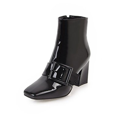 For Shoes Leather UK6 Calf EU39 Fashion Women'S Mid Fall Square Boots Chunky Casual US8 Heel Boots Dress Spring Comfort Patent Buckle Zipper Toe Boots RTRY CN39 5tHngq5