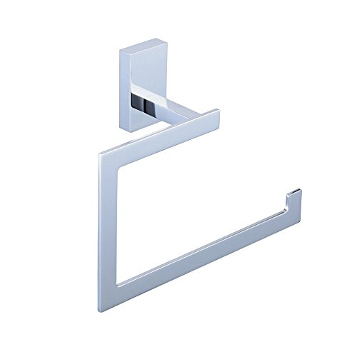 Open Ring Towel (Hiendure Brass Toilet Paper Holder, Bathroom Towel Ring Wall Mount Square Open-Arm Towel Holder Chrome Finish)