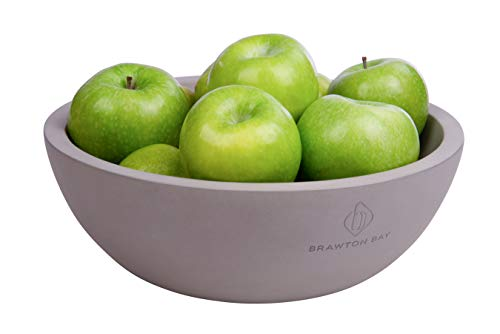 """Decorative Fruit Bowl for Kitchen or Dining Room, Concrete, Gray - Extra Large Food Bowls for Snacks, Candy - Handmade Kitchen Accessories for Tables and Countertops, 12"""" Diameter"""