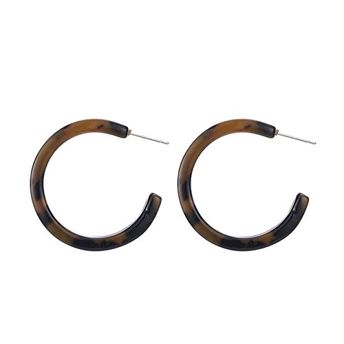 Bling Jewelry Acrylic Tortoise Shell Oval Half Hoop Earrings Oval Tortoise Shell