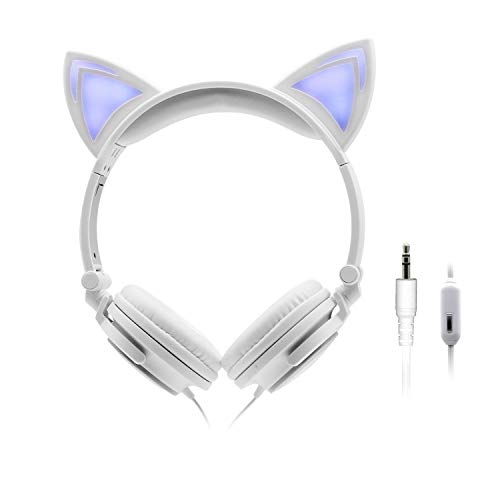 ONTA Kids Headphones with Cute LED Glowing Cat Ears,Foldable, Noise-Canceling and Adjustable Toddlers Headphones for Boys and Girls (Grayish)